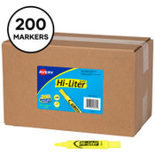 Avery® HI-LITER Desk-Style Highlighters, Fluorescent Yellow Ink, Chisel Tip, Yellow/Black Barrel, 200/Box Item: AVE24130