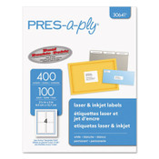 PRES-a-ply® Labels, Inkjet/Laser Printers, 3.5 x 5, White, 4/Sheet, 100 Sheets/Pack Item: AVE30641