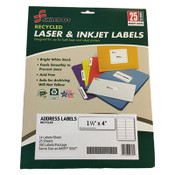 AbilityOne® 7530016736514 SKILCRAFT Recycled Laser and Inkjet Labels, Inkjet/Laser Printers, 1.33 x 4, White, 14/Sheet, 25 Sheets/Pack Item: NSN6736514