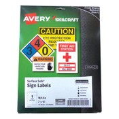AbilityOne® 7530016878146 SKILCRAFT/AVERY Surface Safe Sign Labels, 7 x 10, White, 1/Sheet, 15 Sheets/Box, 12 Boxes/Box Item: NSN6878146