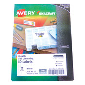 AbilityOne® 7530016878443 SKILCRAFT/AVERY Durable Self-Laminating ID Labels, 1.03 x 3.5, White, 10/Sheet, 25 Sheets/Pack Item: NSN6878443