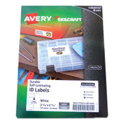 AbilityOne® 7530016878445 SKILCRAFT/AVERY Durable Self-Laminating ID Labels, 2.31 x 3.31, White, 4/Sheets, 25 Sheets/Pack Item: NSN6878445
